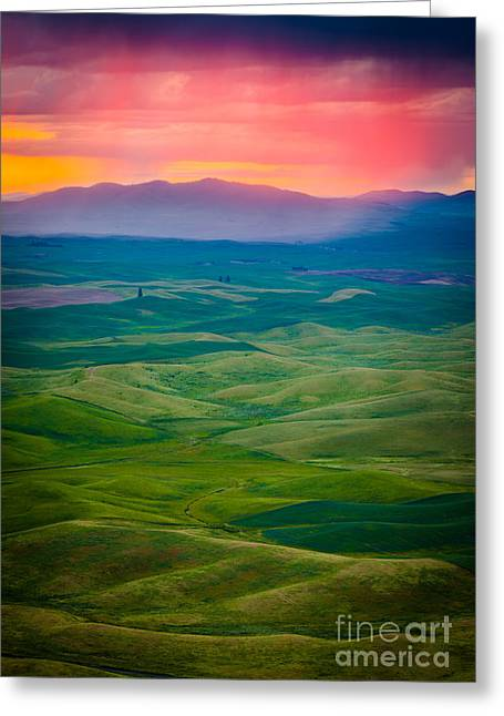 Green Hills Greeting Cards - Palouse Storm at Dawn Greeting Card by Inge Johnsson