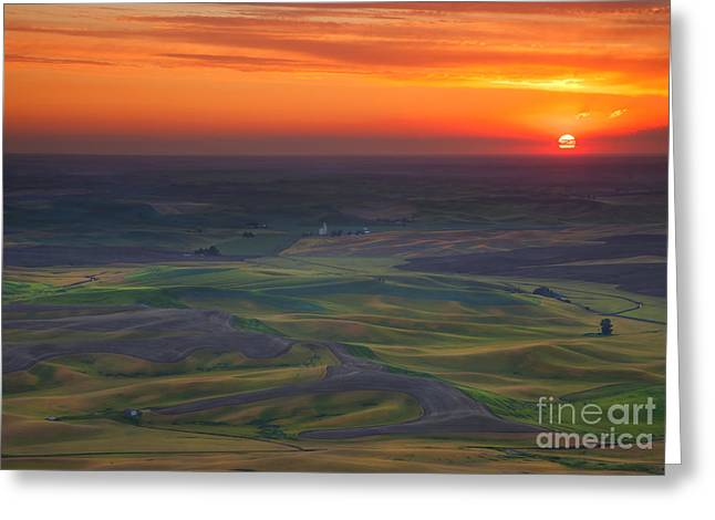 Sundown Greeting Cards - Palouse Sunset Greeting Card by Mike  Dawson