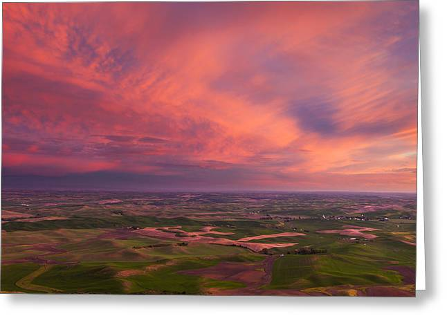 Id Greeting Cards - Palouse Sunset Greeting Card by Thorsten Scheuermann