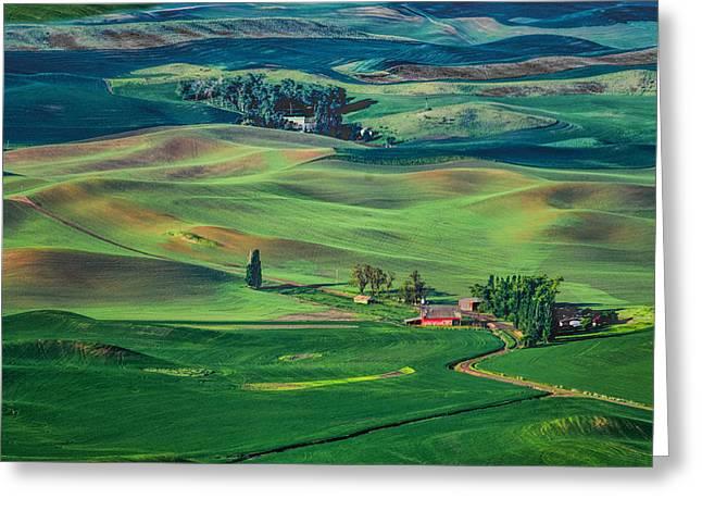 American Landscape Countryside Hills Rural Countryside California Greeting Cards - Palouse - Washington - Farms - #4 Greeting Card by Nikolyn McDonPalouse - Washington - ald