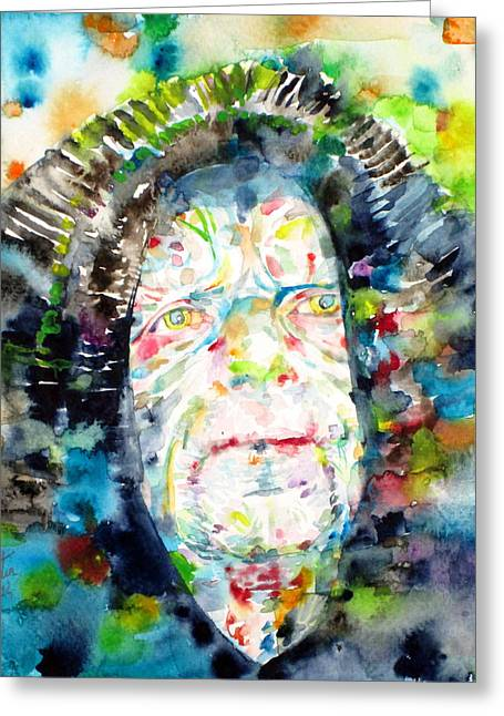 Galactic Paintings Greeting Cards - PALPATINE - watercolor portrait Greeting Card by Fabrizio Cassetta