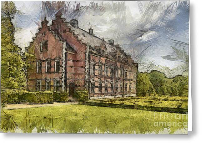 Historic Home Pastels Greeting Cards - Palsjo Slott Sketch Greeting Card by Antony McAulay