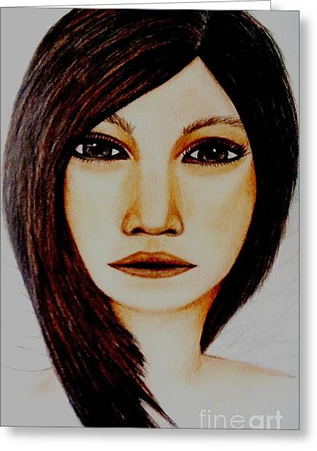Pretty Brown Eyes Greeting Cards - Pamela Greeting Card by Saribelle Rodriguez