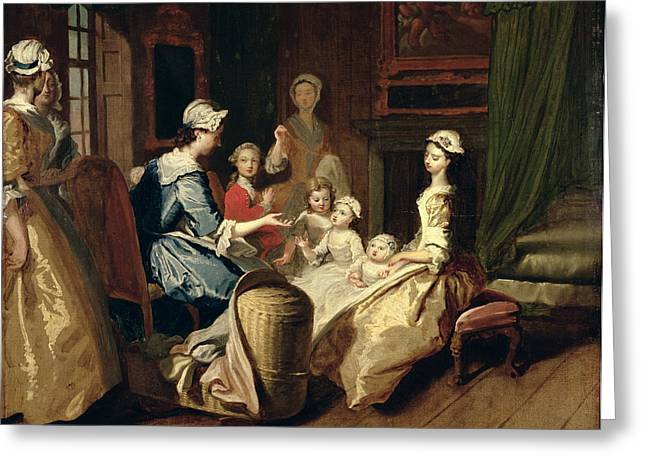 Cot Greeting Cards - Pamela Tells A Nursery Tale Greeting Card by Joseph Highmore