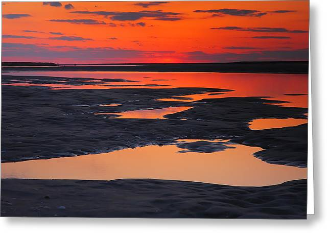 Sunset Prints Greeting Cards - Pamlico Sunset II Greeting Card by Steven Ainsworth