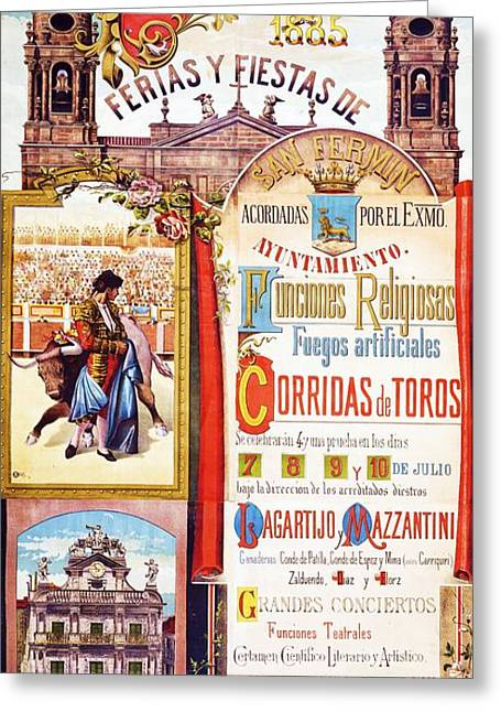 Conversations Drawings Greeting Cards - Pamplona - Corridas de Toros Greeting Card by Pg Reproductions