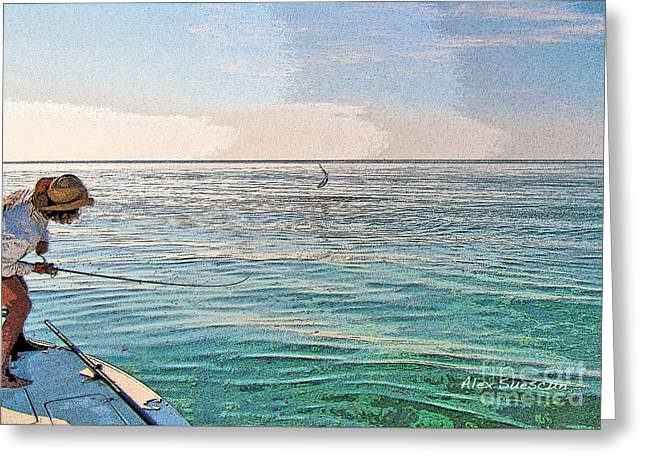 Tarpon Drawings Greeting Cards - Pams Poon Greeting Card by Alex Suescun