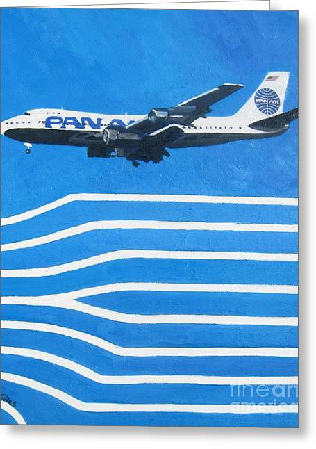 Pan Am Clipper Greeting Card by Lesley Giles