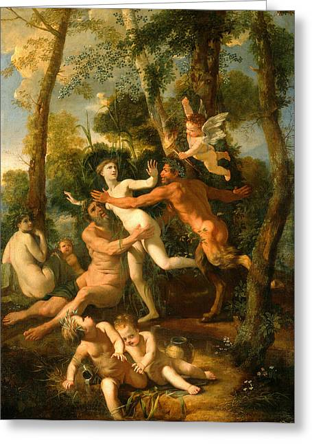 Poussin Greeting Cards - Pan and Syrinx Greeting Card by Nicolas Poussin