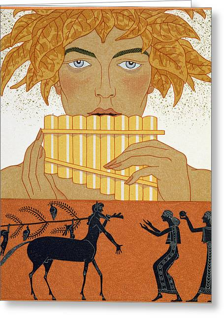 Pan Pipes Greeting Cards - Pan Piper Greeting Card by Georges Barbier