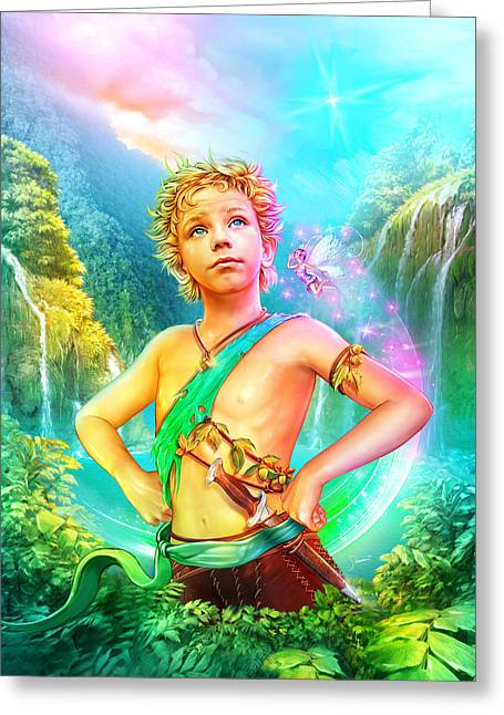 Children Story Book Digital Greeting Cards - Pan Greeting Card by Shannon Maer