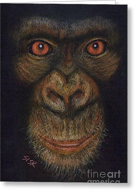 Chimpanzee Pastels Greeting Cards - Pan Troglodytes Greeting Card by Rebekah Sisk