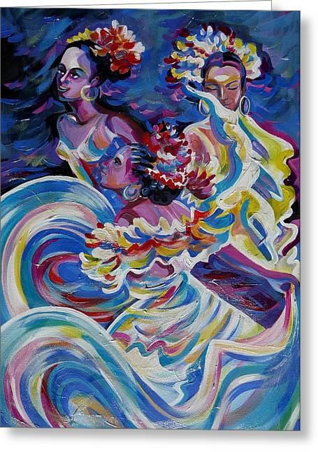 Anna Duyunova Art Greeting Cards - Panama Carnival. Folk Dancers Greeting Card by Anna  Duyunova