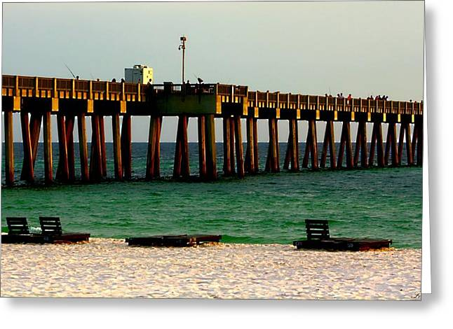 Panama City Beach Greeting Cards - Panama City Beach Pier 2  Greeting Card by Debra Forand