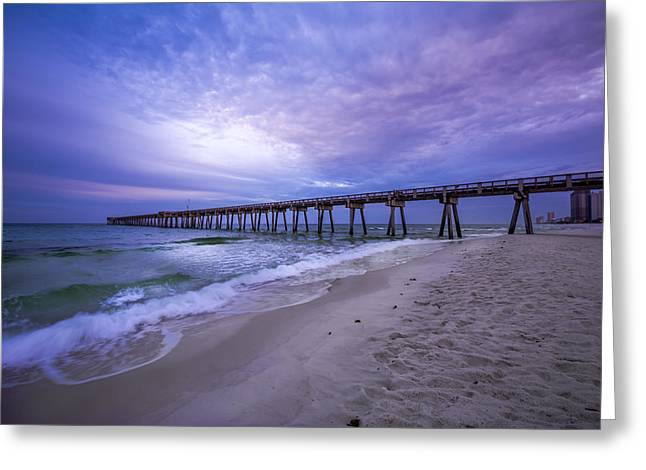 Panama City Beach Greeting Cards - Panama City Beach Pier in the Morning Greeting Card by David Morefield