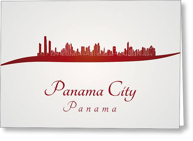Panama City Greeting Cards - Panama City skyline in red Greeting Card by Pablo Romero
