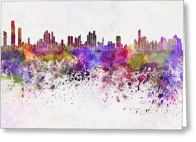 Panama City Greeting Cards - Panama City skyline in watercolor background Greeting Card by Pablo Romero