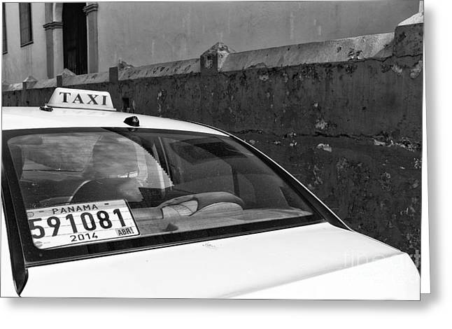 Panama City Greeting Cards - Panama City Taxi mono Greeting Card by John Rizzuto