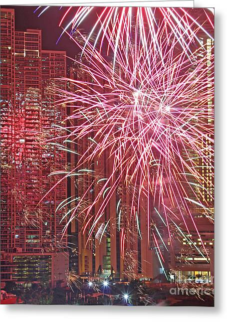 Panama Fireworks Greeting Card by Bob Hislop