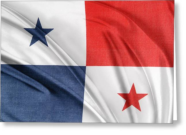 Textile Photographs Photographs Greeting Cards - Panama flag Greeting Card by Les Cunliffe
