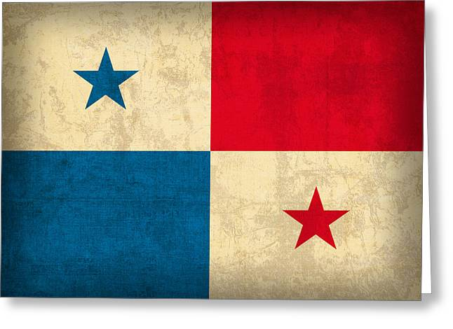 Panama Greeting Cards - Panama Flag Vintage Distressed Finish Greeting Card by Design Turnpike