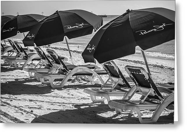Panama Jack Blues - Higgs Beach - Key West - Square - Black And White  Greeting Card by Ian Monk