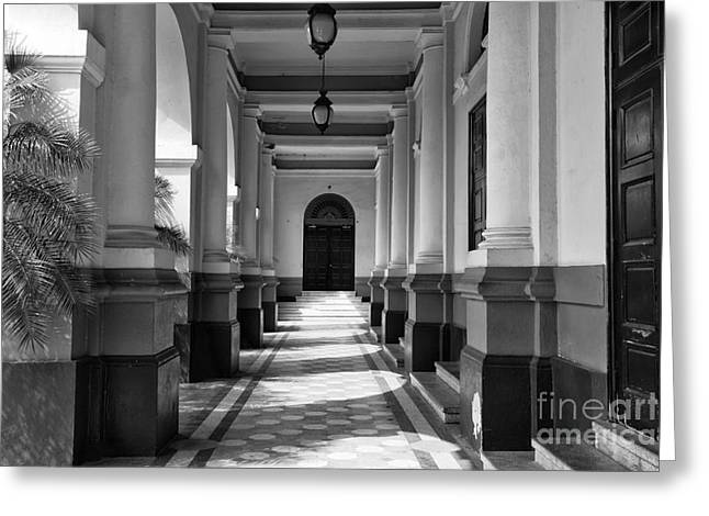 Panama City Greeting Cards - Panama National Theatre mono Greeting Card by John Rizzuto