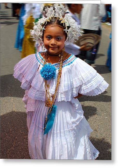 Gold Necklace Greeting Cards - Panama Parade Nina Bonito 3a Greeting Card by Rich Sumwalt