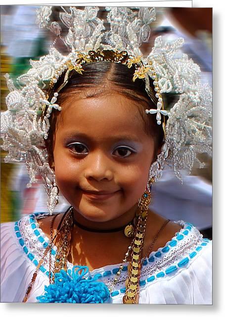 Gold Necklace Greeting Cards - Panama Parade Nina Bonito 3d Greeting Card by Rich Sumwalt