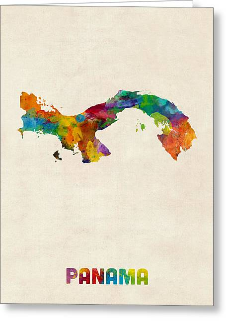 Maps Greeting Cards - Panama Watercolor Map Greeting Card by Michael Tompsett