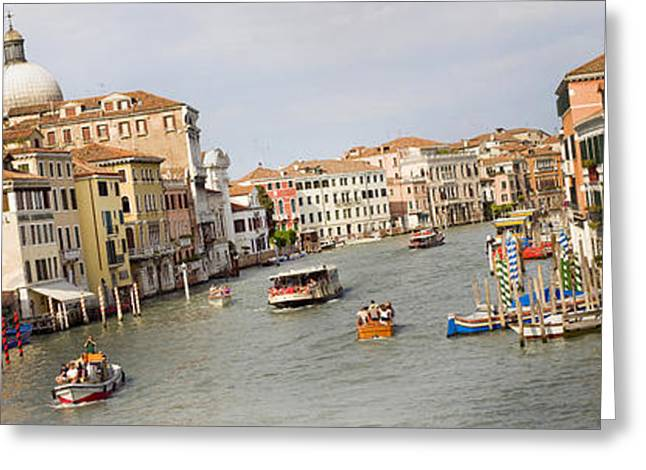 Gondolier Greeting Cards - Panarama Grand Canal in Venice Italy from Bridge Greeting Card by Raimond Klavins