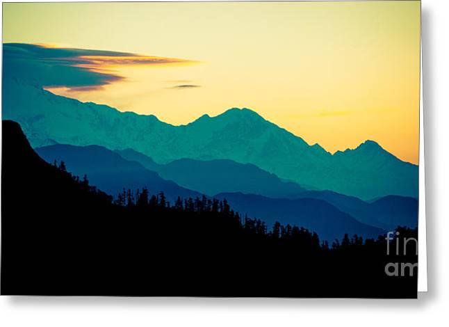 Panaramic Sunrise In Himalayas Artmif Photo Raimond Klavins Greeting Card by Raimond Klavins