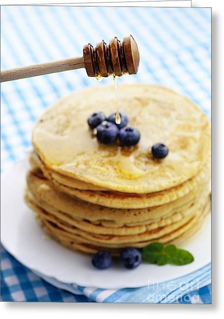 American Food Greeting Cards - Pancakes with honey Greeting Card by Mythja  Photography