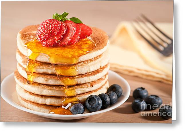 Stacks Greeting Cards - Pancakes With Maple Syrup Greeting Card by Amanda And Christopher Elwell