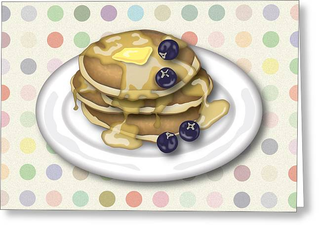 Pancakes Greeting Cards - Pancakes With Syrup And Blueberries Greeting Card by Ym Chin