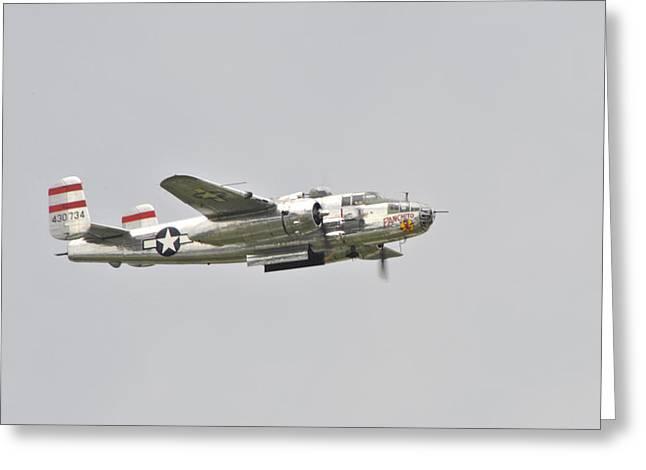 B25 Photographs Greeting Cards - Panchito B25 Flying Greeting Card by Wayne Sheeler