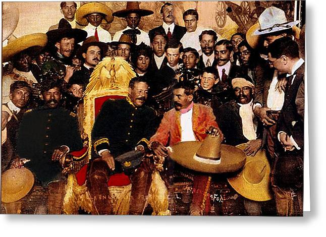 Emiliano Zapata Greeting Cards - Pancho Villa in presidential chair and Emiliano Zapata palacio nacional Mexico City December 6 1914 Greeting Card by David Lee Guss