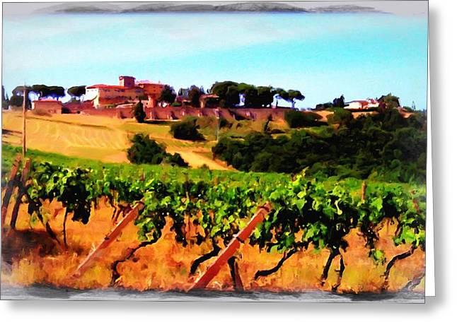 Tuscan Hills Digital Art Greeting Cards - Pancole hills Greeting Card by Italian Traveler