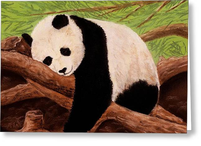 Fauna Pastels Greeting Cards - Panda Greeting Card by Anastasiya Malakhova
