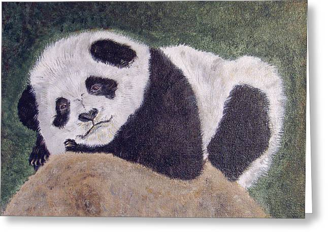 Panda Bear Sleepy Baby Cub Greeting Card by Ella Kaye Dickey