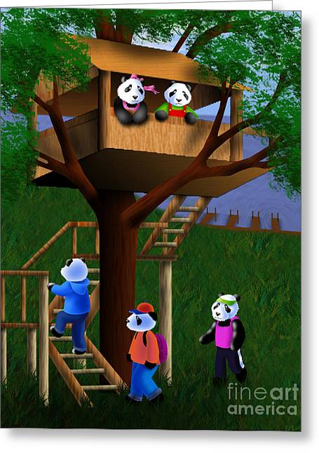 Panda Bear Tree House Greeting Card by Jeanette K