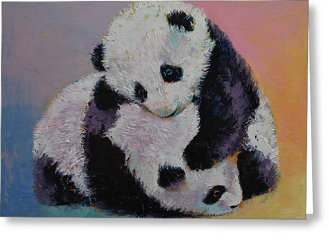 Cuddly Greeting Cards - Baby Panda Rumble Greeting Card by Michael Creese