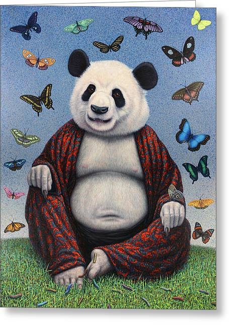Enlightenment Greeting Cards - Panda Buddha Greeting Card by James W Johnson