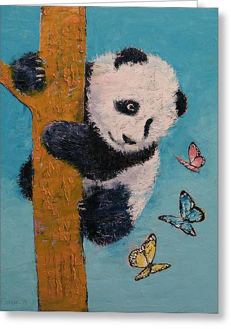 Giant Panda Greeting Cards - Panda Butterflies Greeting Card by Michael Creese