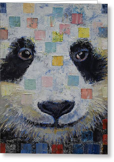 Checker Greeting Cards - Panda Checkers Greeting Card by Michael Creese