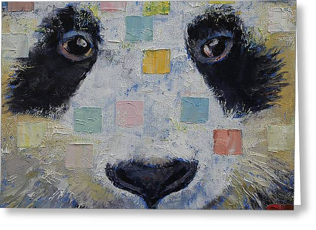 Panda Checkers Greeting Card by Michael Creese