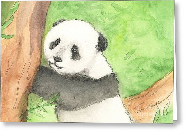 Pen And Ink Framed Prints Greeting Cards - Panda Cub Greeting Card by Erica Vojnich