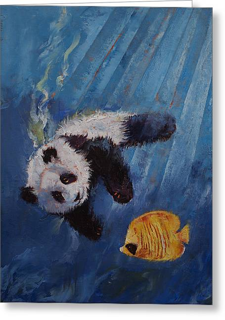 Divers Greeting Cards - Panda Diver Greeting Card by Michael Creese