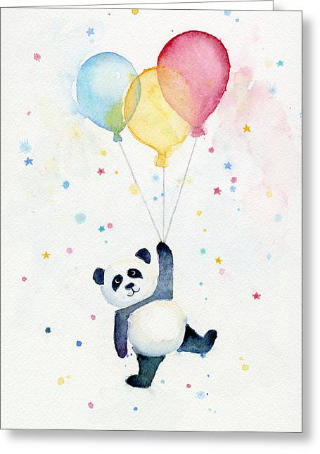 Star Nursery Greeting Cards - Panda Floating with Balloons Greeting Card by Olga Shvartsur