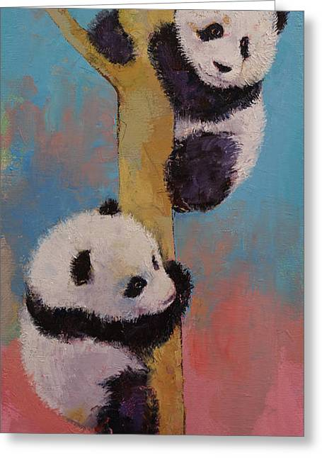 Climb Tree Greeting Cards - Panda Fun Greeting Card by Michael Creese